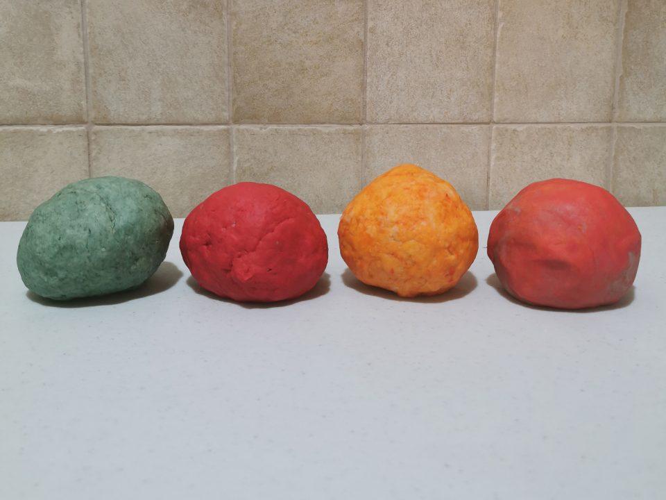 4 balls of homemade edible playdough