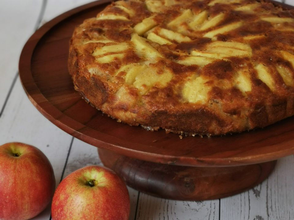 side view of caramelized upside down apple cake