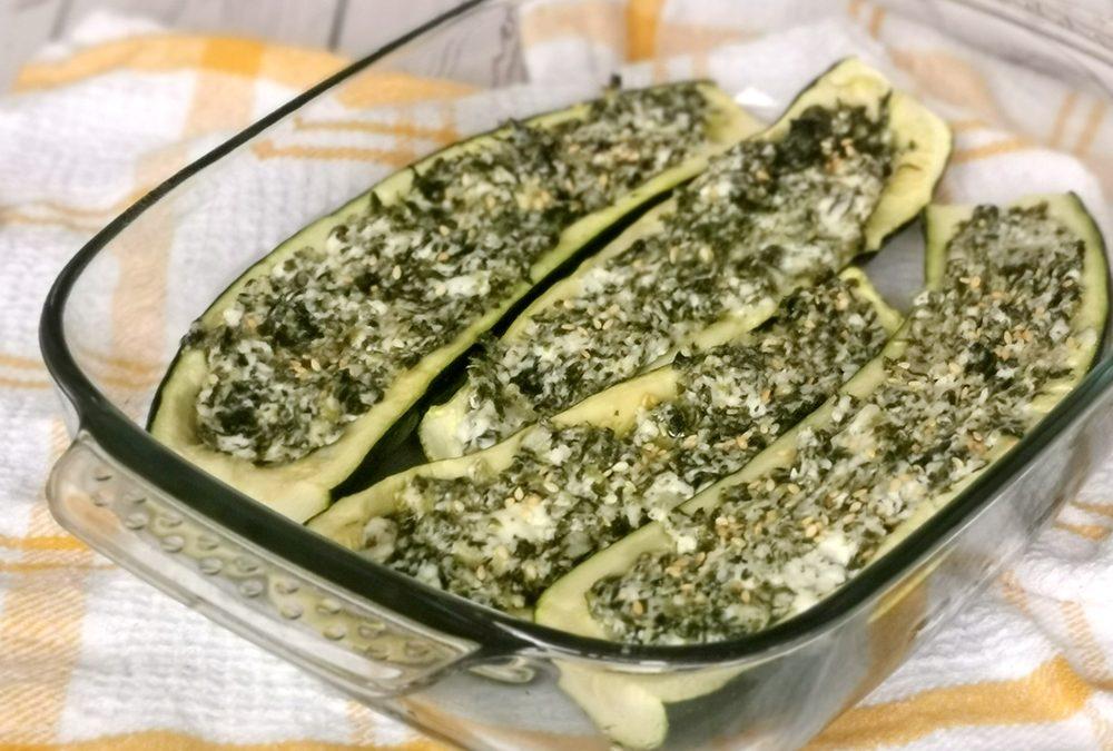 A tray of stuffed zucchini